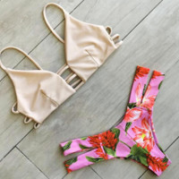 Upper skin color with bottom pink Print two piece bikini chest and  back hollow Bottom side open bath suit