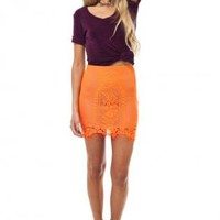 Orange lace skirt