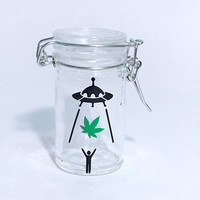 Stash Jar for medical marijuana gifts for stoners ufo alien abduction pot leaf cannabis stoner gifts weed jars glass airtight jar