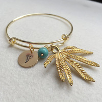 Personalized bracelet, Women Accessories, Personalized jewelry for Best friend, Gold adjustable bangle, Leaf, initial, turquoise Women Gift