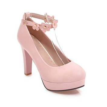 Flower Ankle Strap Platform Pumps High Heels for Women 3014