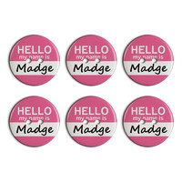 Madge Hello My Name Is Plastic Resin Button Set of 6