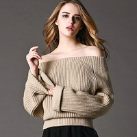 Casual Strapless Knitwear Sweater
