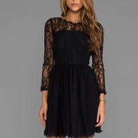 Juicy Couture Delicate Lace Dress in Pitch Black