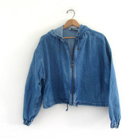 Vintage 80s cropped jean jacket. spring denim jacket. Coat with Hood. Women's size L