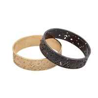 House of Harlow 1960 Jewelry Engraved and Punched Out Bangle Set