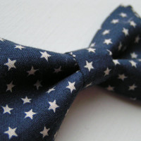 Navy blue and ivory stars Hair bow tie or clip, Hair Bows,Fabric bows, Kids and adults, Bowties