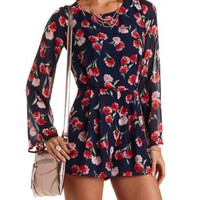 Bell Sleeve Floral Chiffon Romper by Charlotte Russe