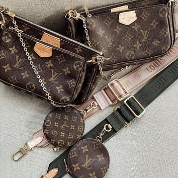 LV Multi Pochette Women's Fashion All-match Three-in-One Mahjong Bag Three-piece Set