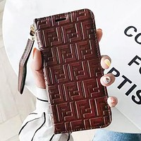 Fendi New fashion more letter leather couple protective case phone case leather case Coffee
