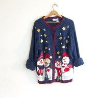 Vintage Winter sweater cardigan in blue. Holiday sweater. Tacky Ugly Christmas sweater with snowmen / plus size