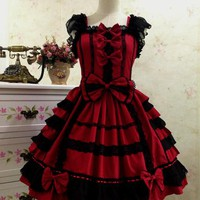 Japan Akihabara style black and red Princess cosplay costume vintage gothic punk lolita dress can be custom made