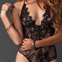 Black Lace Strappy Lingerie One Piece Suit 11503