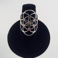 Sacred Geometry, Seed of Life Ring with Pink Tourmaline in 925 Sterling Silver