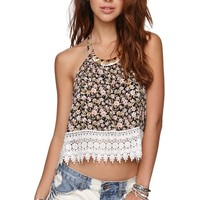 LA Hearts T Back Crochet Trim Tank - Womens Shirts -