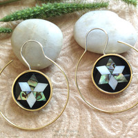 """Earrings, Jewish """"The Magen David"""" Handcrafted, MOP Shell, Paua Shell, Brass & Sterling, Classy Hoops"""