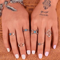 6pcs ~ Unique Carving Tibetan Silver Plated knuckle Joint Ring Set