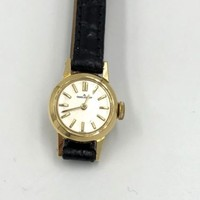 Jaeger LeCoultre Ladies 18K Yellow Gold Watch alligator Band