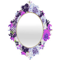 Aimee St Hill Croc And Flowers Blue Baroque Mirror