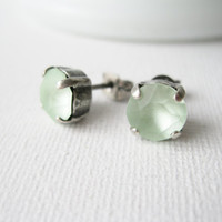 Frosted Mint Post Earrings. Swarovski Crystals and Antique Silver Studs. Spring Wedding. Bridesmaid Jewellery. Matte Chrysolite.