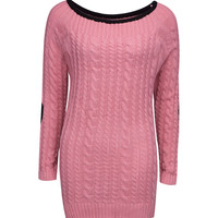 Pink Cable Elbow Patch Chunky Knit Sweater Dress