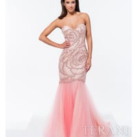 Terani 151P0110 Blush Sequin Embellished Mermaid Gown 2015 Prom Dresses