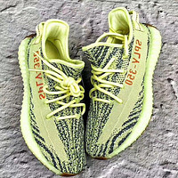 Samplefine2 Adidas Yeezy Boost 350 V2 men and women models fashion casual shoes F Yellow
