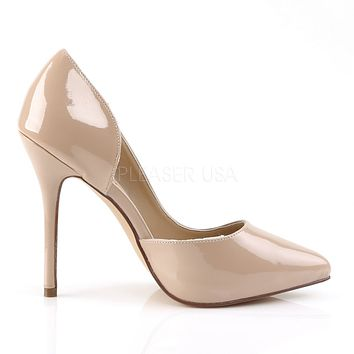 """Amuse 22 Nude Patent Pointy Toe Pumps 5"""" High Heel Shoes"""
