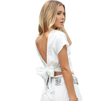 ♡ Backless Casual Cotton White Shirt ♡