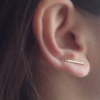 Gold Bar Earrings, Minimalist 24k Gold Plated Sterling Silver Bar, Bar Ear Climber, Bar Long Studs, Gold Ear Cuff, Gold Ear Pins, Gift Idea