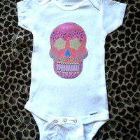 Hipster Pink Sugar Skull Baby Onesuit for baby girls size 0-3 months, 6-9 months, 12 months, 18 months