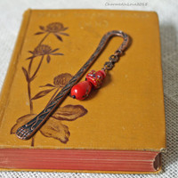 Beaded Metal Bookmarks, Beaded Bookmarks, Metal Bookmarks, Antique Copper Bookmarks