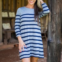 Feeling Some Stripe Of Way Dress, Gray-Navy