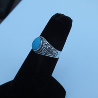 Silver Ring With Blue Center Stone, Size 6 to 6 1/4, Silver 925, Nice Vintage Ring