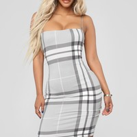 Plaid It Right Dress - Grey