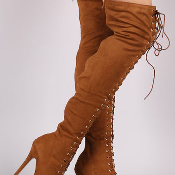 Liliana Suede Lace Up Stiletto Heeled Over-The-Knee Boots