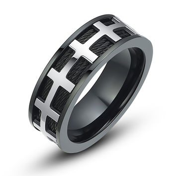 Stainless Steel Black Cable Chain Ring