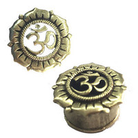PAIR ANTIQUED OM FLOWER BLOOM BRASS TUNNELS PLUGS TRIBAL GAUGES PLUG GAUGE