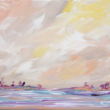 Minimalist Painting Original Seascape Acrylic Abstract Landscape 8x10 Yellow Purple Coastal Beach Painting Stretched Canvas