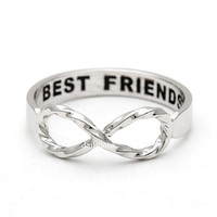 twisted infinity ring with engraved best friends, in silver