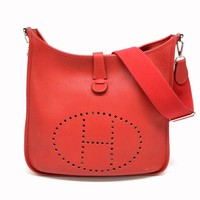 Authentic Hermes Evelyne 3 GM Shoulder Crossbody Bag Pochette Leather Red 2012