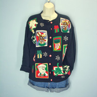 Ugly Christmas Cardigan / Rudolph Santa Sweater / Vintage 80s Ugly Christmas Sweater / M