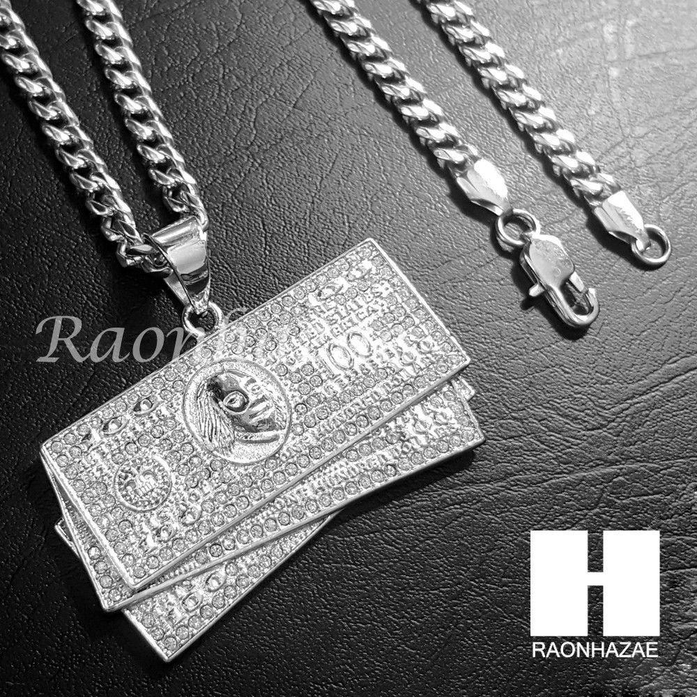 Image of 316L Stainless steel Silver Benjamin $100 Bill 5mm Cuban Chain S12