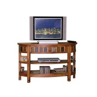 Sunny Designs Curved Entry TV Console In Rustic Oak