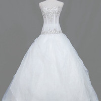 A-line Sweetheart Floor-length Satin Tulle  Wedding Dresses With Embroidery Beading