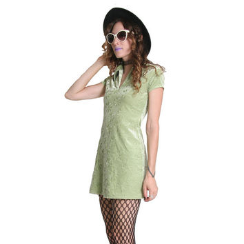 90s Green Velvet Mini Dress - Slime Green - 90s Dress - Mint Green - 90s Floral Velvet Dress - Hippie Cyber Goth - Grunge Dress - Go Go