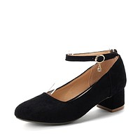 Round Toe Ankle Strap Women Pumps Chunky Heel Pumps 1959