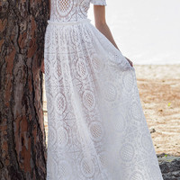 Short Sleeve Cotton Lace Gown | Moda Operandi