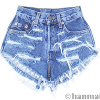 "ALL SIZES ""RAGGED"" Vintage Levi high-waisted denim shorts blue distressed frayed jeans"