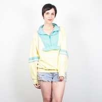 Vintage 80s Sweatshirt Pastel Color Block Yellow Green Purple Pullover 1980s Sweater Sporty New Wave Jumper Slouchy Tshirt Top M L Large XL